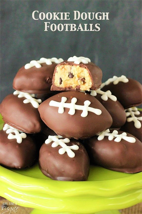 Chocolate Chip Cookie Dough Footballs for Superbowl coming up!