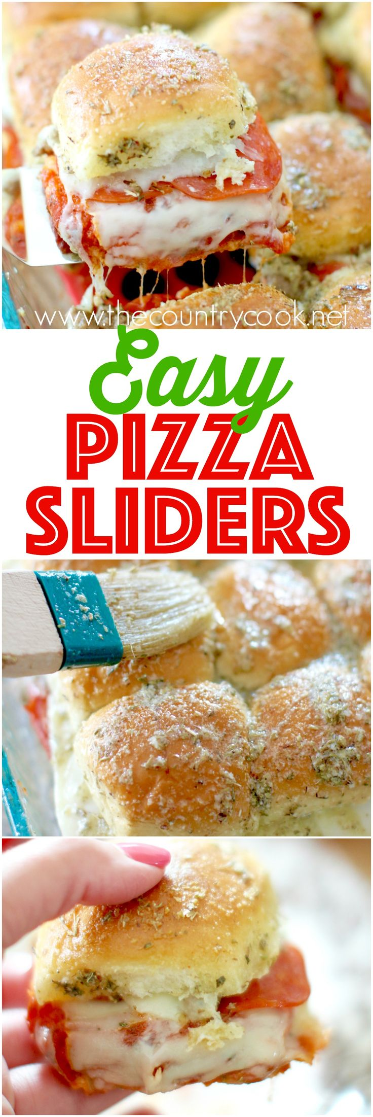 Pizza Pull-Apart Sliders recipe from The Country Cook. Cheesy, meaty filling and the most amazing herbed butter topping. You can't eat just one! #brightbites #ad