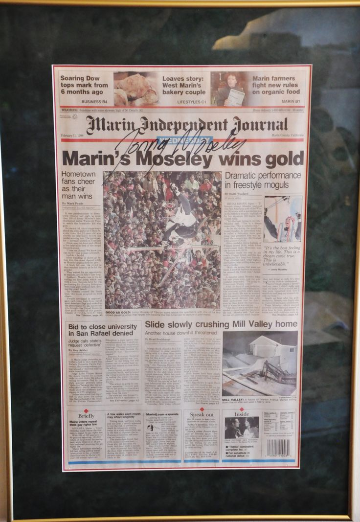 """Framed Olympic Gold Medalist Jonny Moseley Autographed Marin Herald Newspaper 28"""" x 19"""""""