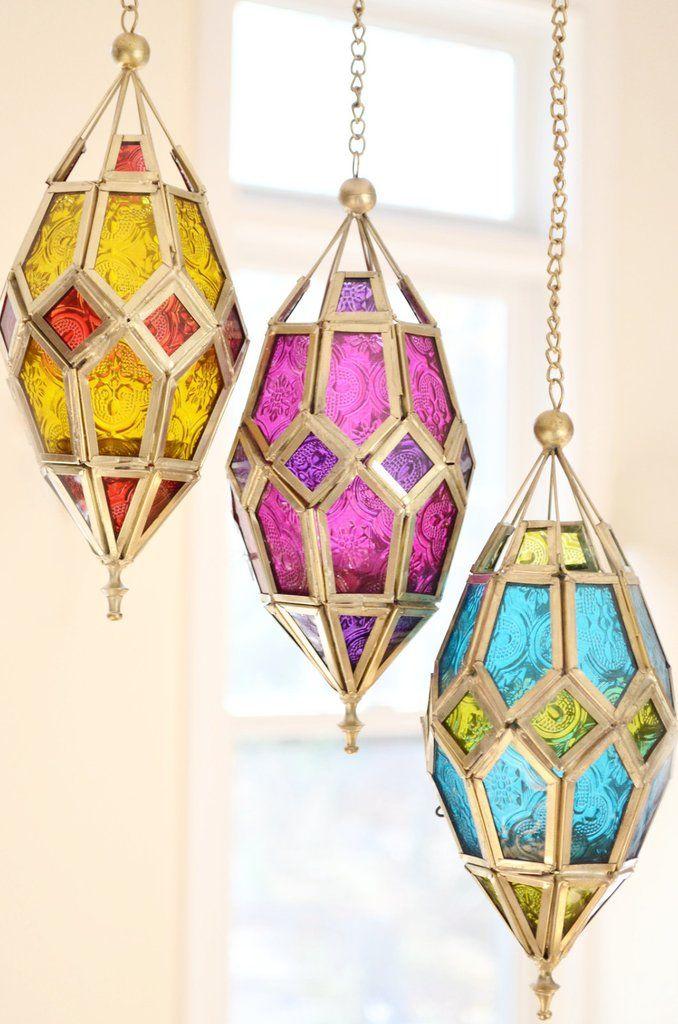 Patterned Glass Hanging Lantern