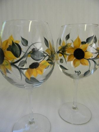 Sunflower Wine Glass by Morningglories1 on Etsy, $36.00