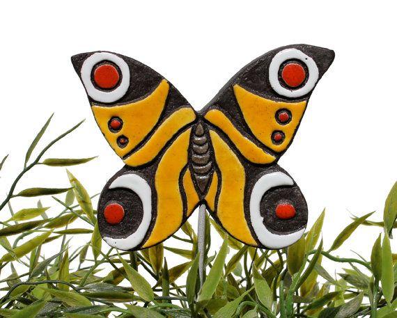 butterfly garden art - plant stake -Materials: ceramic, glaze, metal, earthenware