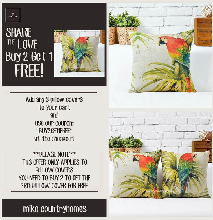 $15 | Parrots | Bird Illustration | Decorative Pillow Cover #Parrots #NatureInspired #TropicalBirds #HomeDecor #PillowCovers #DecorTrends #BUY2GET1 #SALE #GiftsForHer #GiftsIdeas #Decorate
