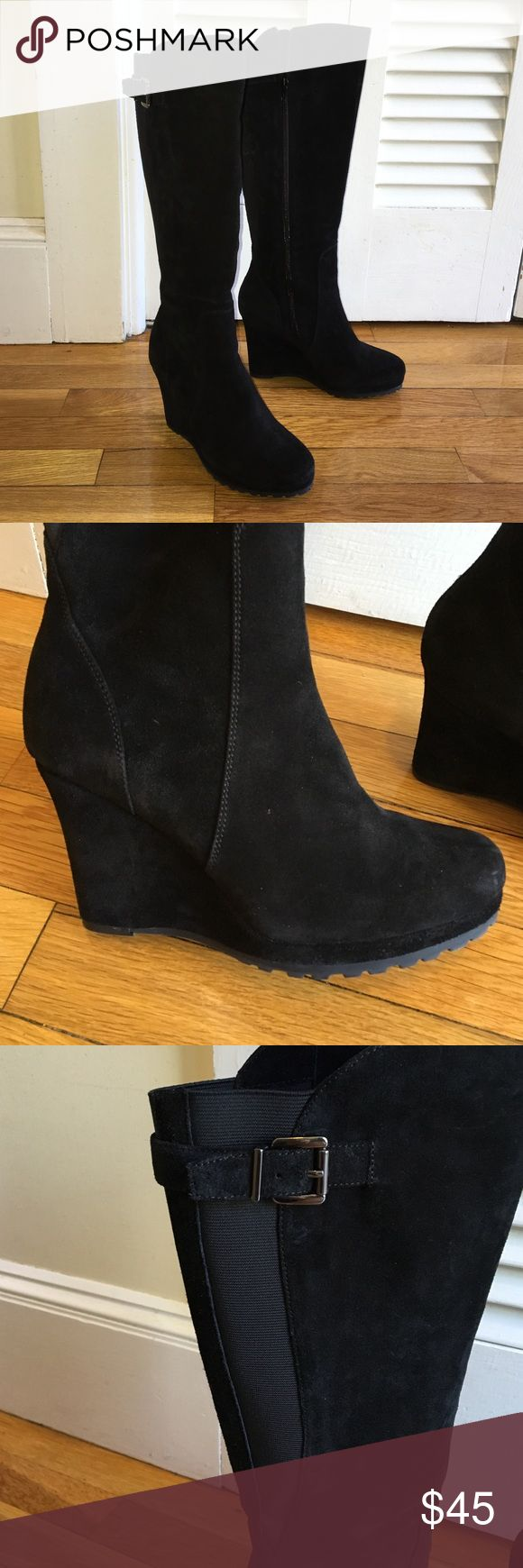 Vaneli black suede wedge boots Knee high black suede wedge boots with zipper and calf strap. Boots have a rubber sole. Worn once. Comes in original box. Vaneli Shoes Heeled Boots