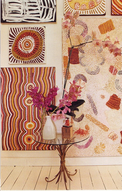 great indigenous themed wall…Love the look of culture in a room