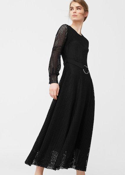 Belt guipure dress