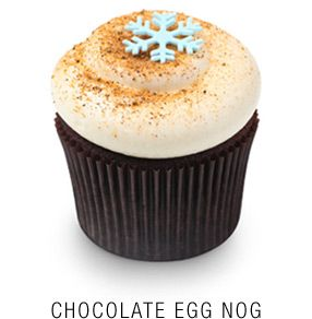 Valrhona chocolate egg nog infused-cupcake topped with a nutmeg-infused vanilla cream cheese frosting and a fondant snowflake