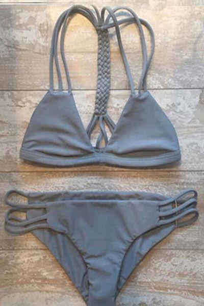 Gray Cutout Triangle String Bikini Set