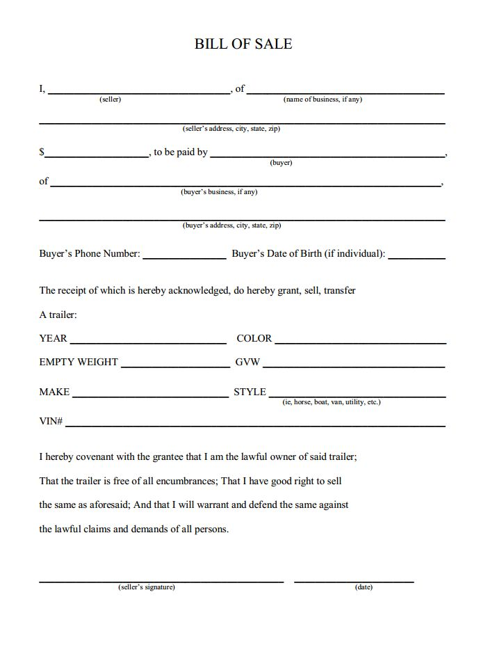 Printable Sample Champer Bill Of Sale Form Laywers