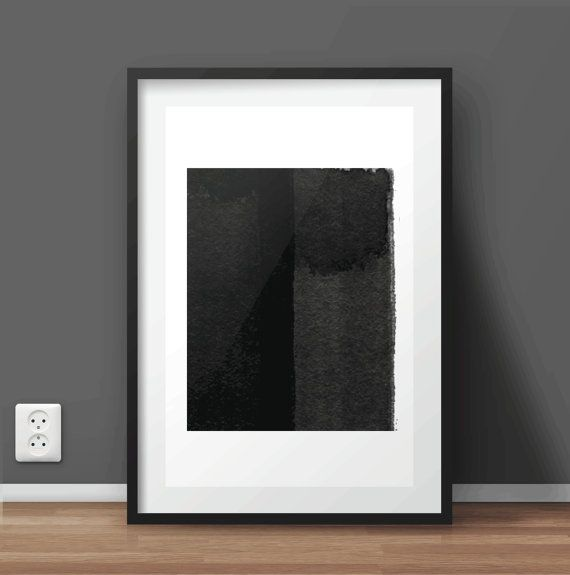 Hand Painted Watercolor Abstract Art | Black and White Print