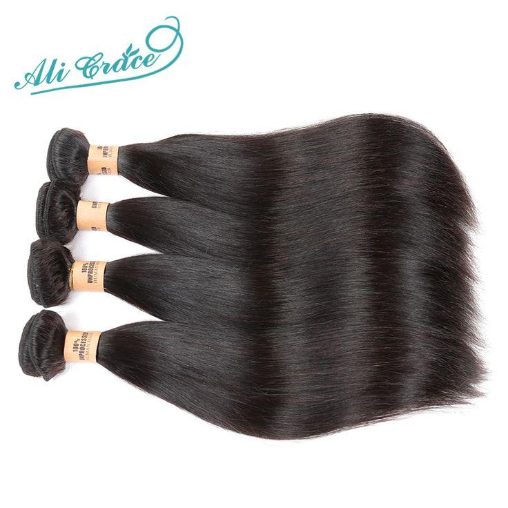 Ali Gracia Hair Products Brasileño de la Virgen Del Pelo Recto 4 unids Sin Procesar Virginal Del Pelo Brasileño Recto Paquetes Armadura Del Pelo Humano