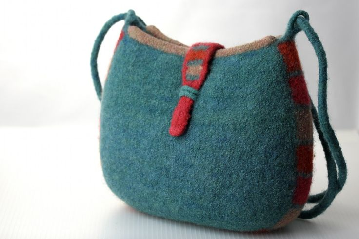 Felt Pouch Adjustable Strap Shoulder Bag dusty by DeborahDumka