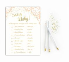 Celebrity Baby Name Game in Pink and Gold Glitter Baby Shower