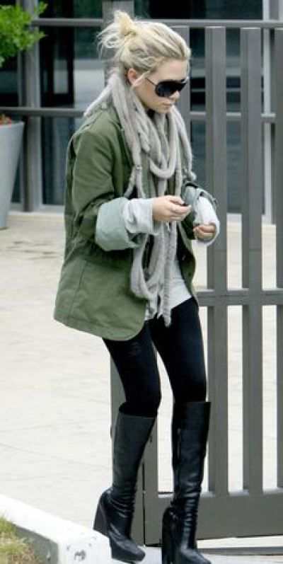 green parka cozy outfit #streetstyle #olsens