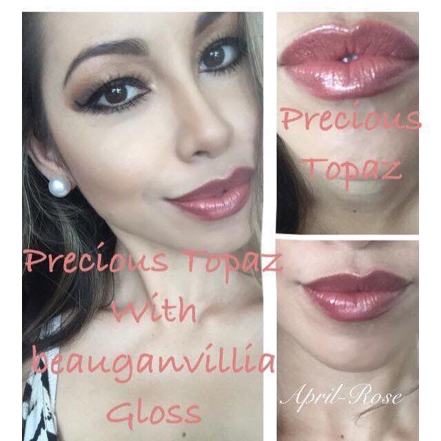 LipSense Precious Topaz with Bougainvillea Gloss
