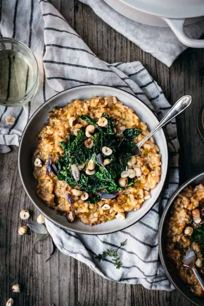 Sweet Potato Risotto With Toasted Hazelnuts Vegan Crowded Kitchen Recipe In 2020 Sweet Potato Risotto Vegan Dinner Recipes Easy Risotto Recipes