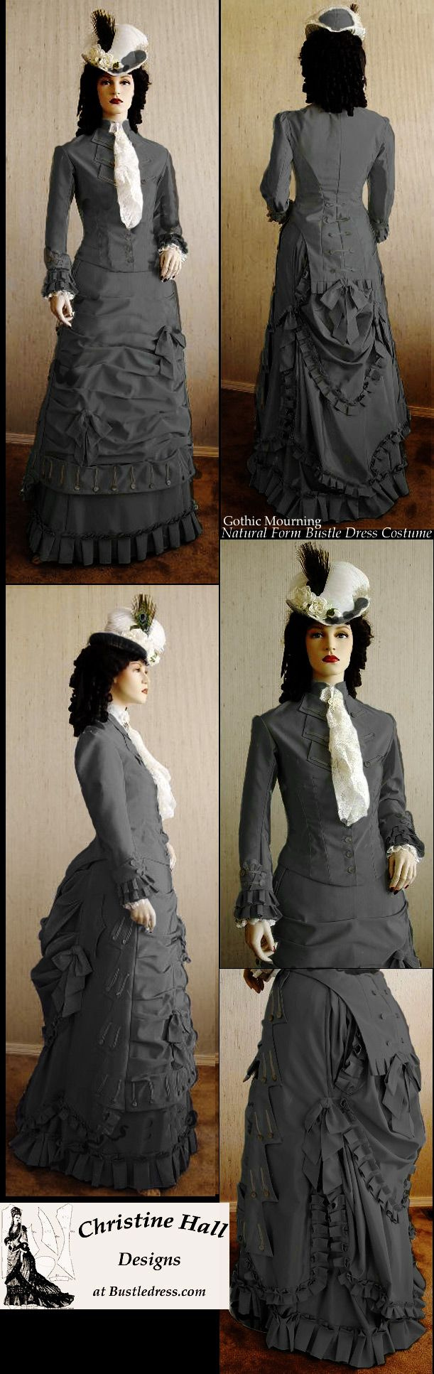 Natural Form: SASS GOTHIC Mourning 1877 Victorian Natural Form Bustle Dress Costume CUSTOM MADE by Christine Hall