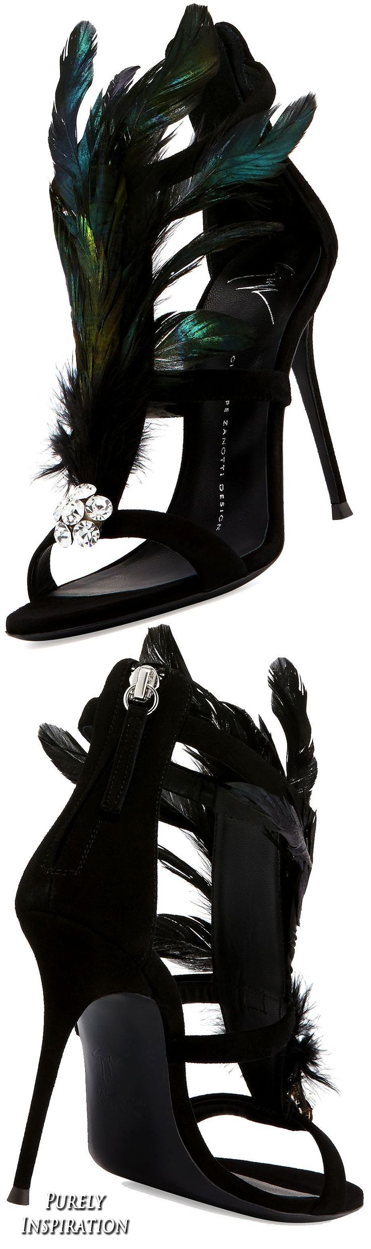 Giuseppe ZanottiPeacock Feather 105mm Sandal, Black (Nero) | Purely Inspiration #giuseppezanottiheelszapatos #giuseppezanottiheelssandals