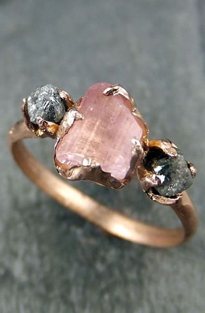 CUSTOM Raw Pink Tourmaline Diamond 14k Rose Gold Engagement Ring Wedding