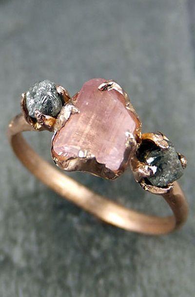 Raw Pink Tourmaline Diamond 14k Rose Gold Engagement Ring Wedding