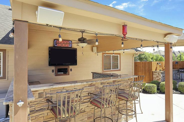 11407 Garden Shadows Ln Cypress, TX 77433: Photo Covered outdoor bar with ice maker and ceiling fan.  Happy Hour sign is excluded.  Window is to the garage. Mounted speakers.   Full back yard and side yard mosquito mister.  Outdoor speaker system.