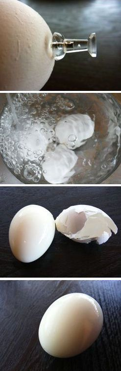 How to Boil the Perfect Egg (1) bring eggs to room temperature (2) with a push pin, poke a hole on rounded side of an egg (3) put eggs in boiling water (4) add a pinch of salt (5) boil for 8 - 10 min or 6 min for soft boiled eggs (6) cool eggs with cold water completely (7) knock an egg softly on a hard surface and peel