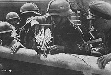 Soldiers of the German Wehrmacht tearing down the border crossing between Poland and the Free City of Danzig 1 September 1939