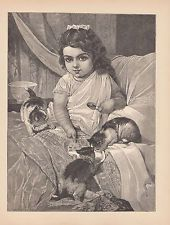 VICTORIAN GIRL IN BED SHARING HER BREAKFAST WITH BELOVED CATS ANTIQUE PRINT