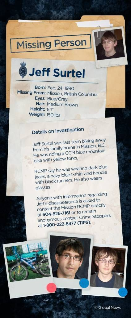 Nearly 10 years ago, 17-year-old Jeff Surtel disappeared from his home in B.C. His family continues to fight for answers. http://globalnews.ca/news/3403717/a-nightmare-b-c-family-struggles-for-answers-after-son-jeff-surtel-vanished-10-years-ago/