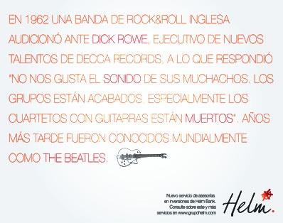 Campaña HELM BANK · The Beatles ·  JUAN SEBASTIAN ESGUERRA · Portafolio 2011 · Publicidad · Colegiatura Colombiana · Medellín-Colombia