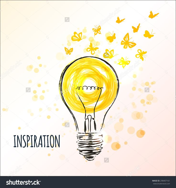 Light bulb sketch with flying butterflies - Concept of inspiration. Doodle hand drawn sign. Vector Illustration