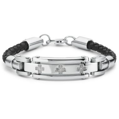 Fine Jewelry Mens 1/7 C.T. TW. Diamond 18K Gold and Stainless Steel Bracelet 4eRn5