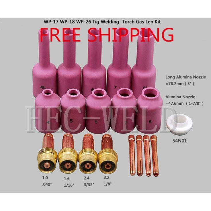 23.69$  Buy here - http://aligu3.shopchina.info/go.php?t=32336421169 - FREE SHIPPING TIG KIT Long Gas Lens & Long Alumina Cup Fit TIG Welding Torch PTA DB SR WP 17 18 26 Series 19PK  #aliexpressideas