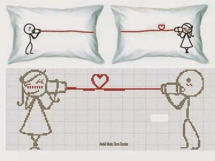 schema punto croce cuscino uomo amore | Hobby lavori femminili - ricamo - uncinetto - maglia