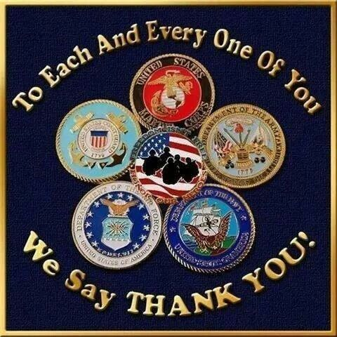 TO ALL THAT HAVE SERVED..MY FATHER(Army) MY UNCLE(Marines) MY UNCLE(Navy) AND THOSE WHO ARE SERVING NOW..WE THANK YOU AND SALUTE YOU.