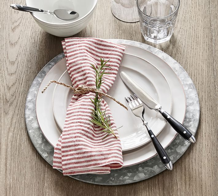 Galvanized Charger Dinner Plates Striped Napkin Chargers
