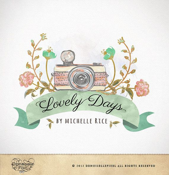 hand drawn watercolor premade logo for  photographers $39.90