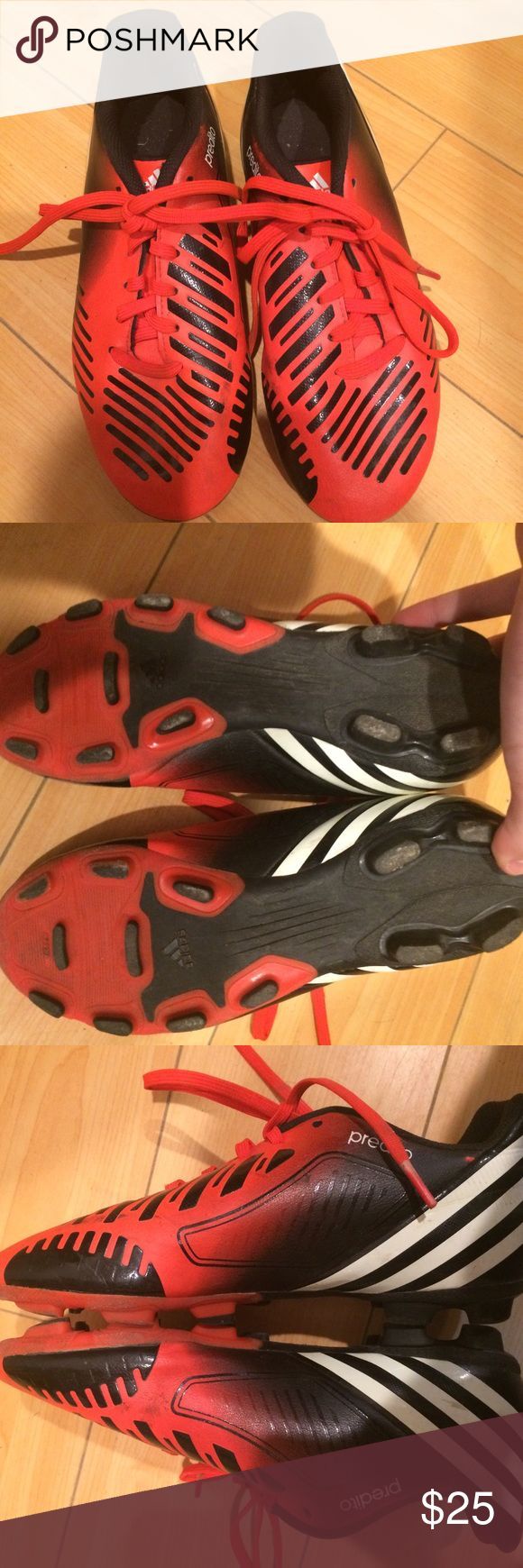 Adidas soccer shoes In good used condition. No tear, minor scratches. Synthetic Leather Rubber sole Predator design dna built to control and move the ball down field Soft abrasion resistant synthetic upper with leather forefoot finish for fit, control and comfort Soft textile lining for comfort and fit Die-cut ethylene vinyl acetate sockliner for comfort and cushion New flexible firm ground tooling for natural and artificial outdoor surfaces Adidas Shoes Sneakers