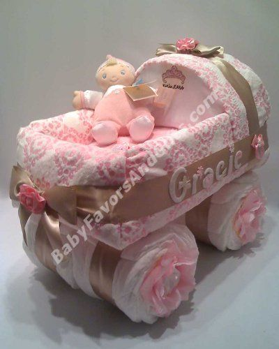 Pink for girl diaper cake, baby carriage diaper cake