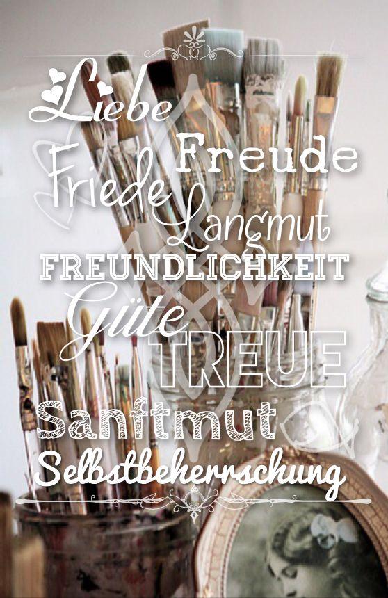 Liebe Freude Friede Langmut Freundlichkeit Güte Treue Selbstbeherrschung Galater 5:22 {Typography: inStatus}