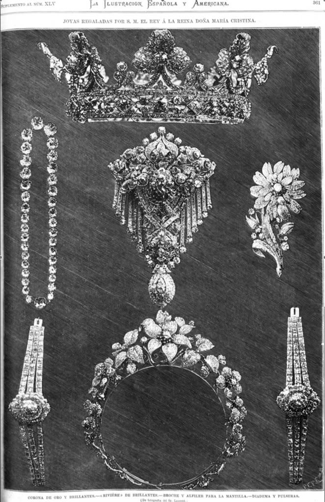 Regalos de boda de Alfonso XII a  la Reina Cristina al parecer la corona fue reformada de la que le regalo a su anterior esposa Dña Maria de las Mercedes