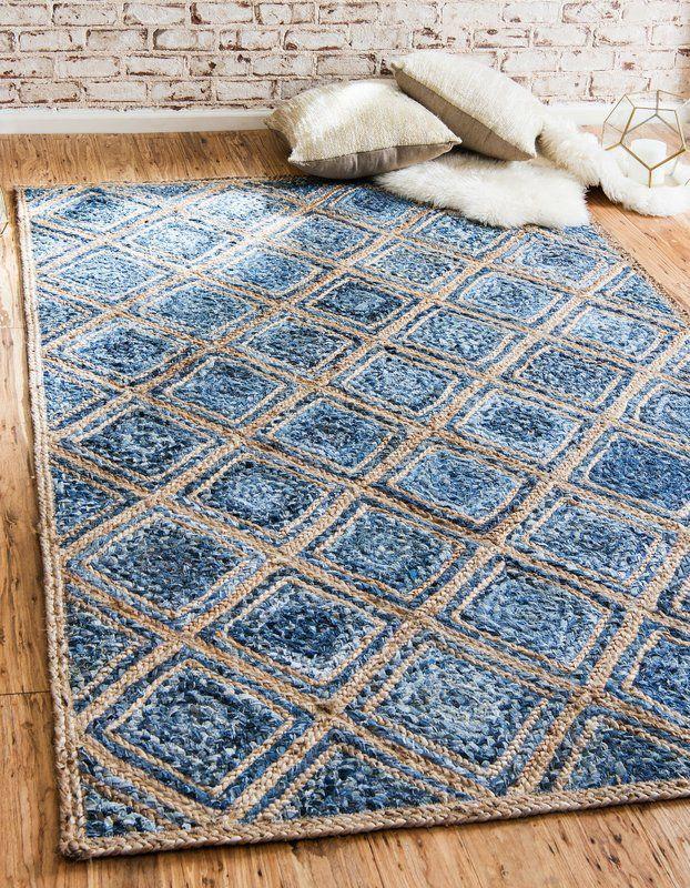 Mcrae Hand Braided Blue Area Rug Farmhouse Style Rugs