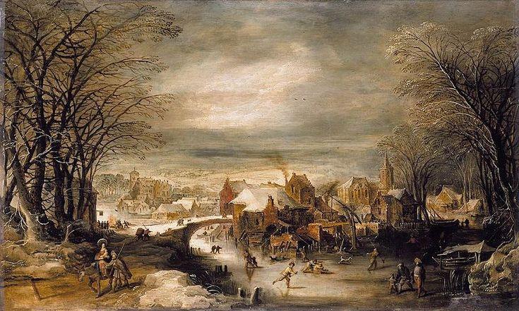 Joos de Momper the Younger (1564 - 1635). Зимний пейзаж и бегство в Египет.
