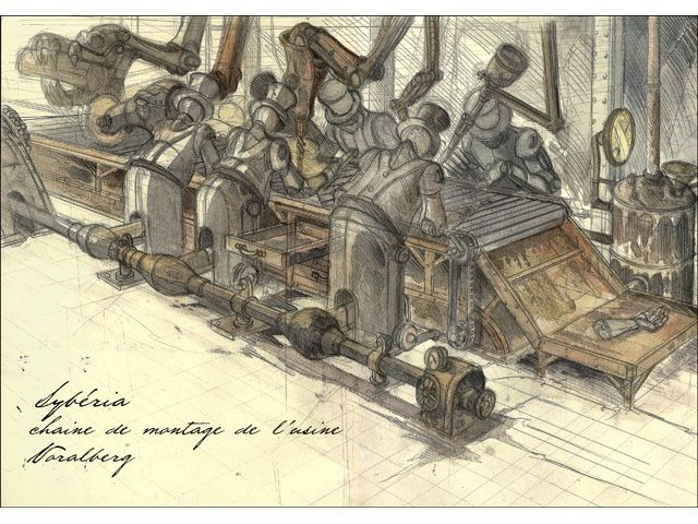 "Microïds - Microïds - Benoit Sokal's ""Syberia"" Artwork: Sketches / Concept Art (Valadilene - Voralberg Factory)"