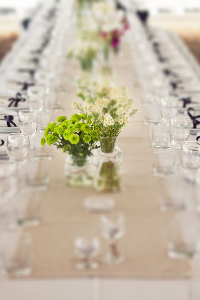 Long Tables With Simple, But Elegant, Floral Decoration. Detail.