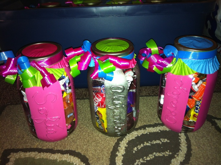 Personalized mason jar filled with candy for birthday