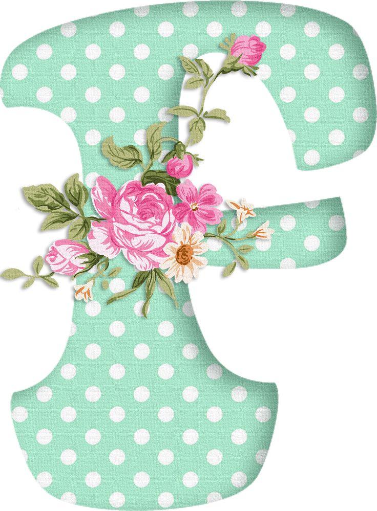 PAPIROLAS COLORIDAS: Abecedario con flores. Letras mayúsculas verdes, puntos blancos. Letra F.