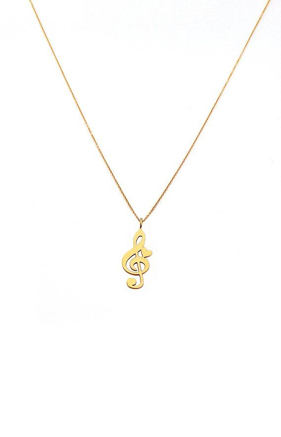 14K Gold Treble Clef Pendant with Personalized Birthstone by JEWLR