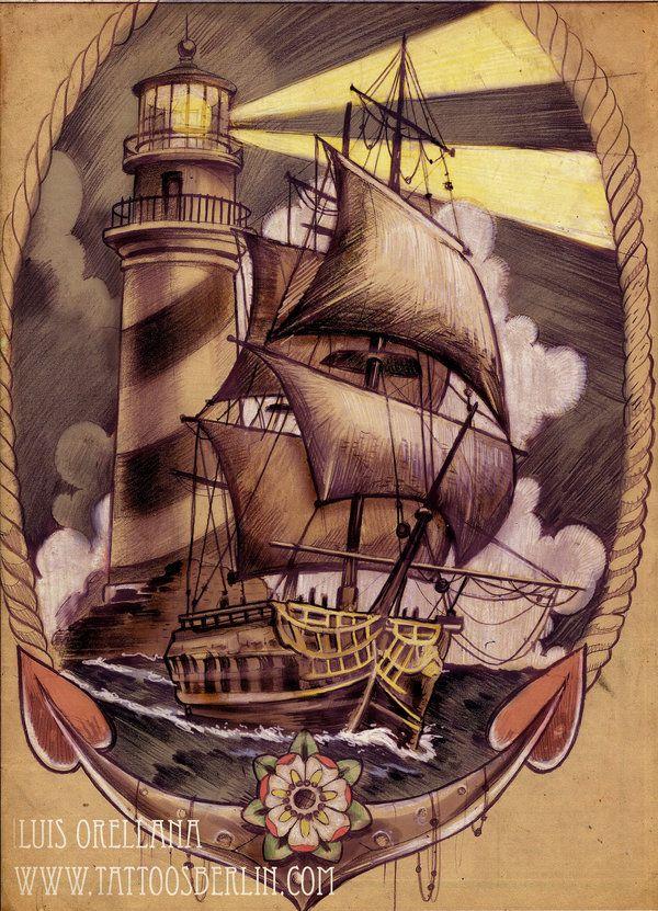 ship and lighthouse tattoo design by mojoncio.deviantart.com on @deviantART