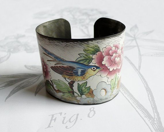 bluebird  vintage tin bracelet by littleblackrabbit on Etsy